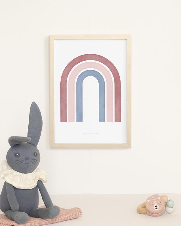 Poster med abstrakt regnbåge i rosa och blå toner för barnrummet