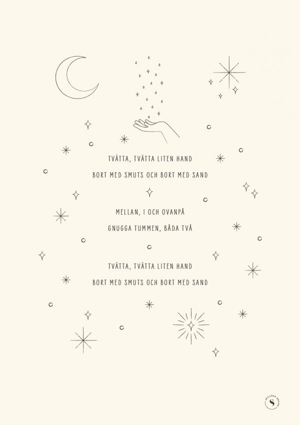 """Poster med text till Handtvätt-sång och illustration av måne, stjärnor, droppar och bubblor - färg """"creme"""" (gräddvit)"""