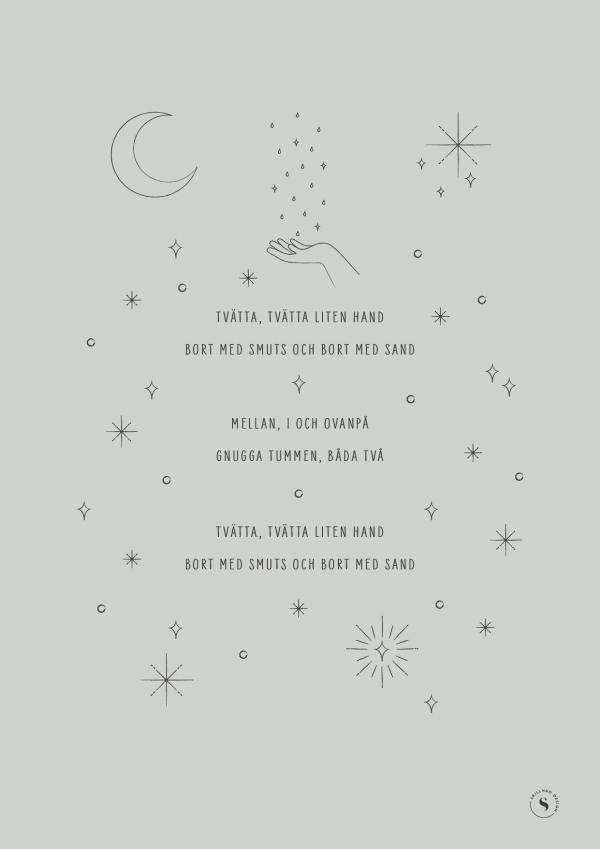 """Poster med text till Handtvätt-sång och illustration av måne, stjärnor, droppar och bubblor - färg """"sage"""" (ljus salviagrön)"""