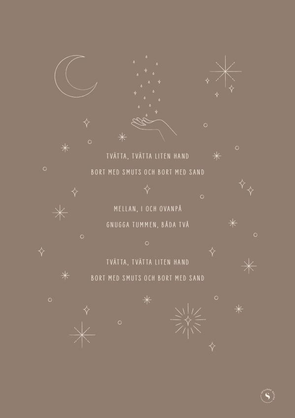 """Poster med text till Handtvätt-sång och illustration av måne, stjärnor, droppar och bubblor - färg """"earth"""" (brun)"""